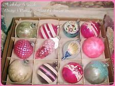 Stunning Stencil Indent Pink Pinecone & Waffled Glass Antique Vtg Xmas Ornaments