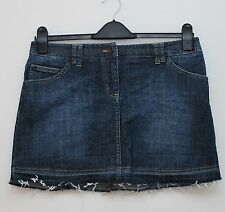 White Stuff denim skirt size 12 dark indigo blue cotton short mini buckle womens