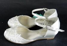Monsoon Girls Bridesmaid/Party Shoes Pearl & Lace Wedge Size UK9 BNWT