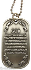 "SERENITY PRAYER RECOVERY AA PENDANT   DOG TAG WITH 24"" CHAIN FREE USA SHIPPING"