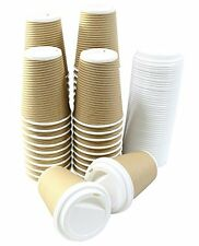 Disposable Insulated Ripple Hot Coffee Paper Cup with Cappuccino Lids, 12oz, 50