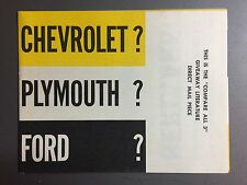 1957 Plymouth Belvedere Showroom Advertising Sales Folder Brochure RARE! Awesome