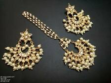 White Beads Kundan Gold Tone Indian Bollywood Earrings Tikka Set Bridal Jewelry