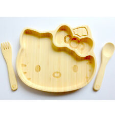 SANRIO HELLO KITTY BAMBOO WOODEN PLATE SPOON & FORK SET BABY GIFTS MADE IN JAPAN