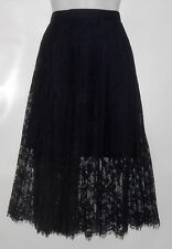 H&M Ladies Mid Calf Accordion Pleated Lace Skirt Navy Twelve (12) NWT