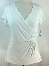 INC International Concepts Faux Wrap Knit Top Lined Bright WHITE Size XL