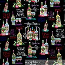 BonEful FABRIC FQ Cotton Quilt Wine Purple Grape Vineyard Country Glass Bottle S