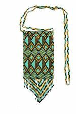 Cell Phone Bag Artisan Glass Beads Crystal Iphone Purse Gold Turquoise BG160-132