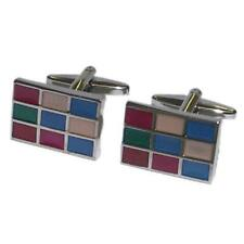 Multicoloured Blue Green RED Check Rectangle CUFFLINKS Formal Birthday Present