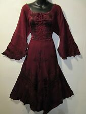 Dress XL 1X Plus Renaissance Burgundy Corset Lace Up Chest Layer Lace Hem 5223