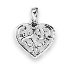 Sterling Silver Celtic Motif Heart Pendant Charm w Interior Knotwork Jewelry
