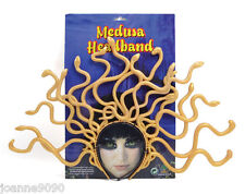New Ladies Medusa Greek Goddess Fancy Dress Costume Gold Snake Headdress Headand