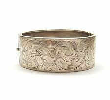 Antique Edwardian 925 Silver ENGRAVED FLORAL PATTERNED BANGLE BRACELET 25g