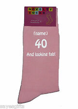 40 And looking fab! and Personalised Ladies Pink Socks Great 40th Birthday Gift