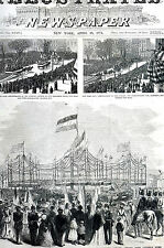 German PEACE JUBILEE Parade Tompkins Square NYC 1871 Antique Print Matted