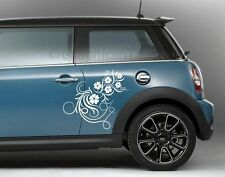 Mini Cooper Car Sticker, Flower Stickers, Custom Vinyl Graphic Decals