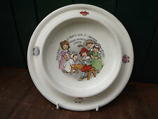 Vintage 1903 Child's nursery feeding bowl USA made Tom Piper's Son