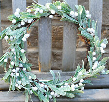 MISTLETOE WREATH garland Christmas celebration home accessories sparkle Frosted
