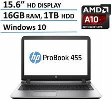 "New HP Probook 15.6"" Quad Core AMD A10-8700P 16GB 1TB DVDRW HDMI Webcam Bluetoot"