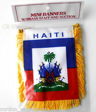 HAITI MINI POLYESTER INTERNATIONAL FLAG BANNER 3 X 5 INCHES