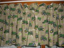 brown DARK KHAKI farm TRACTOR custom lined VALANCE with JOHN DEERE green fabric