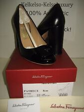 $595 NEW Salvatore Ferragamo US 9 Patrece Black Leather Pumps High Heels Shoes