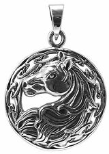 HORSE HEAD PENDANT with CELTIC Band 925 Sterling SILVER 25mm Diameter 36mm Drop