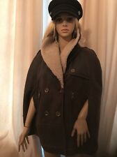 BURBERRY Brit Lammfell Poncho Mantel Stola  Jacke Leder It 44 de 36 38 Military