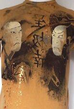 Japanese Samurai Warriors Tan Brown S/S T-Shirt w/Bronze Paint Splatter Detail L