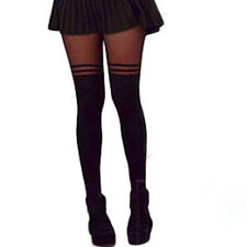 New Sale Sexy Stockings Pantyhose Mock Over The Knee Double Stripe Sheer Tights