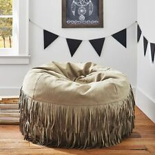 New Pottery Barn PB Teen Junk Gypsy Austin Suede Fringe large Beanbag slip cover