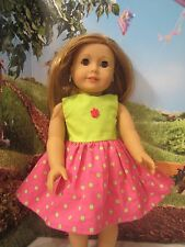 "homemade 18"" american girl/madame alexander/our gener pink sundress doll clothes"