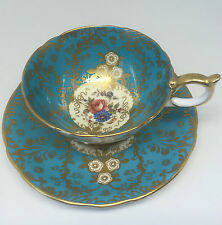Aynsley Tea Cup And Saucer Set England Fine Bone China Royalty Blue Gold Floral