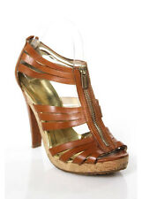 MICHAEL MICHAEL KORS Brown Leather Strappy Zipper Platform Pump Sz 7.5 RSB175
