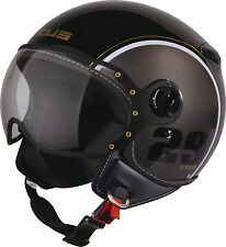 L Large ZEUS 210C Demi Jet Helmet Open Face Visor Scooter Black Silver White
