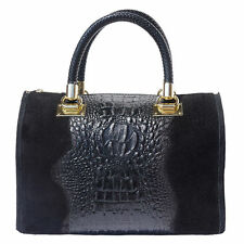 Handbag Bag Italian Genuine Leather Hand made in Italy Florence 7002 bk