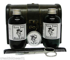 LONG JOHN BEARD OIL GROOMING SET CINNAMON SCENT IN WOODEN PIRATES CHEST