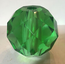 NEW-Faceted Crystal Ball Lamp Column Spacer EMERALD GREEN Glass VINTAGE 40+ YRS