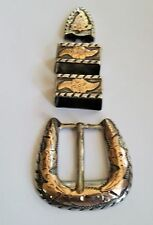 Vintage Sterling Silver & 10K Yellow GOLD 4 Piece Western Ranger Belt Buckle Set