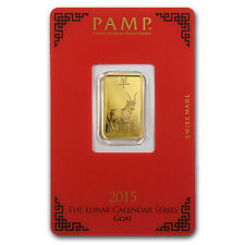 5 gram Gold Bar - Pamp Suisse Year of the Goat (In Assay) - SKU #86051