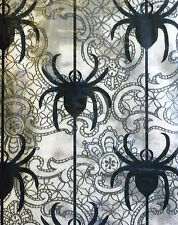 HALLOWEEN TABLECLOTH CREEPY SPIDERS BLACK WHITE GRAY VINYL 52 INCH SQUARE NEW