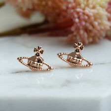Vivienne No drilling small Saturn earrings matte Rose gold VE14014693-2 NANA