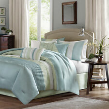 BEAUTIFUL 7 PC MODERN ELEGANT LIGHT BLUE SAGE GREEN COMFORTER SET KING OR QUEEN