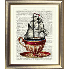 ART PRINT ON ORIGINAL ANTIQUE BOOK PAGE Ship Nautical Dictionary Picture Teacup