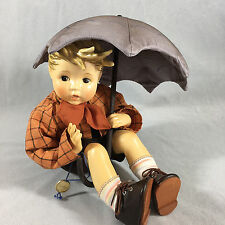 Goebel Hummel Doll Figurine Umbrella Boy Danbury Mint Soft Body With Box 1989