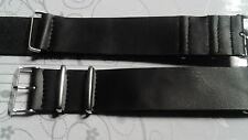 BRACELET MONTRE SIMILI CUIR 24mm NOIR  /* STYLE NATO 26CM /* REF/ BY 23