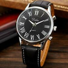 Luxury Brand Faux Leather Black Men Watches 2015 Quartz Analog Dress Wristwatch