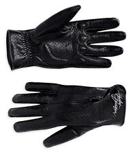 Harley-Davidson Womens Black Perforated Full Finger Leather Gloves, NEW WITH TAG