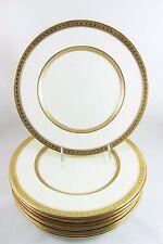 SET 8 VINTAGE ROYAL WORCESTER CORONET SALAD SIDE PLATES RAISED GOLD ENCRUSTED