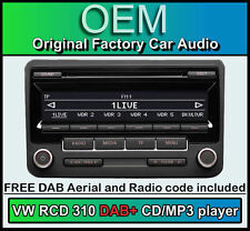 VW RCD 310 DAB+ digital radio, Golf MK6 DAB+ car stereo CD player, radio code